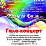 Программа XIV Открытого межрегионального фестиваля-конкурса детского и молодежного творчества «МУЗЫКА ДУШИ»